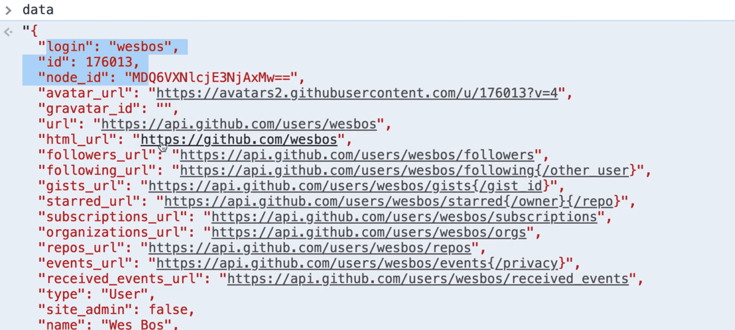 browser console output of 'data'