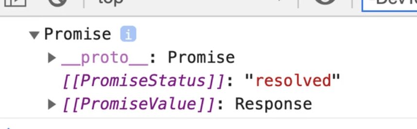 browser console showing output of a promise