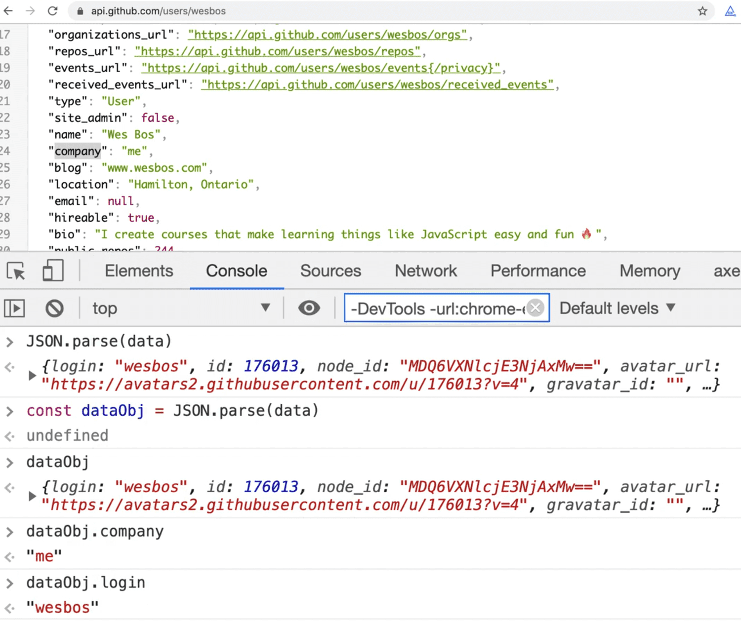 browser output showing accesing JSON object properties