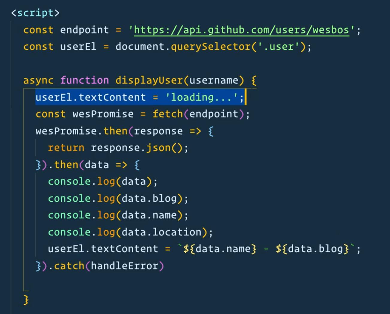 code snippet of displayUser function